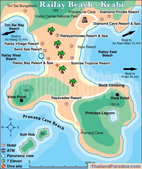Расположение пляжей Railay Beach на карте