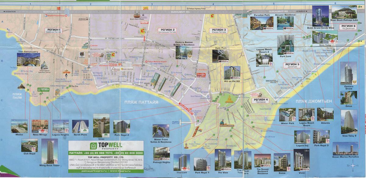 Карта Паттайи с отелями и пляжами