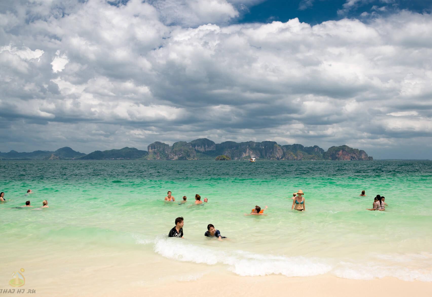 Пляж на Poda Island