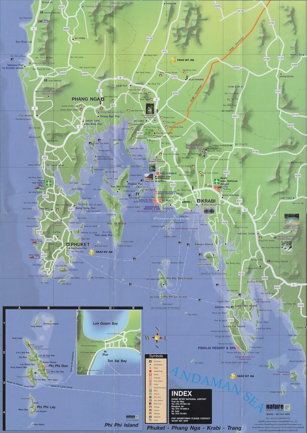 Полная карта Krabi и Phang Nga